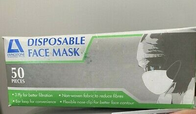 50pcs of LIVINGSTONE DISPOSABLE FACE MASK SURGICAL Fluid Resistant With Earloop
