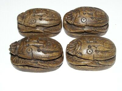 Vintage Art Deco Egyptian Revival 4 Large Stone Scarab Beads