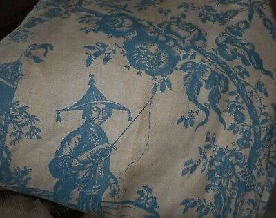Vintage Chinoiserie Tree of Life Floral Linen Furnishings Fabric ~ Gorgeous Blue