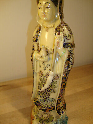 FINE ANTIQUE CHINESE  Women  IVORY COLOR RESIN FIGURINE signed bottom