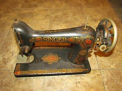 Singer Sewing Machine Vintage G9912813 Black Gold Red Manufacturing Co Sewer The