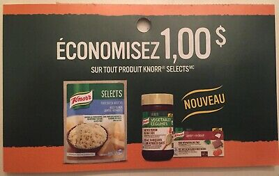 Lot of 10 x 1.00$ KNORR SELECTS Products Coupons Canada