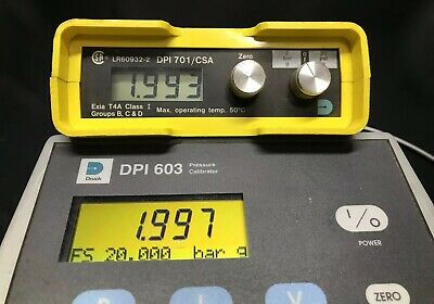 GE Druck DPI 701 / CSA Digital Pressure Indicator Digital Gauge 2 Bar 20 PSI G