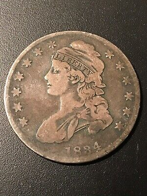 1834 Capped Bust Silver Half Dollar Coin VG 50 Cents 50c Type 1 Lettered Edge