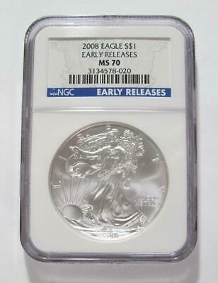 2008 U.S. American Silver Eagle * NGC MS 70 * Early Releases * No Reserve