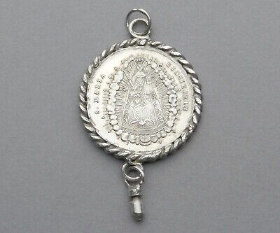 Antique Religious Large Silver Pendant. Saint Virgin Mary. Einsiedeln. Medal.