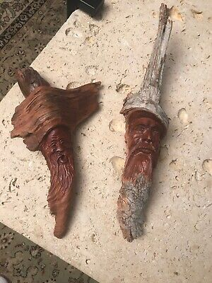 2 Wood Spirit Carving Wise Old Man Wizard Hand Carved Drift Wood  Signed Vintage