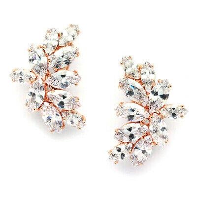 Mariell 14K Rose Gold Plated Marquis Cluster CZ Bridal, Wedding or Prom Earrings
