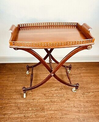 Mahogany English Georgian Butler's Tray Stand on Casters 19th Century Antique