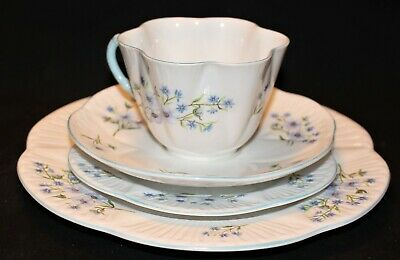 Shelley Blue Rock Cup/Saucer/Two Plates