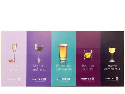 Five (5) United Airlines Drink Beverage Coupons Vouchers Exp 01/31/2022