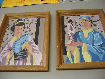 2 Completed Paint by Number oriental  woman and  man Framed  11X14