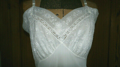 "S 38"" bust Vintage White Full Nylon Slip Lace Embroidery No Tags"