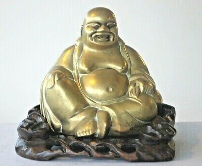 Vintage chinese brass laughing buddha large figurine on a carved wood stand