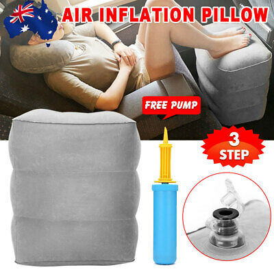 Portable Travel Inflatable Foot Rest Air Pump Footrest Pillow Support Cushion