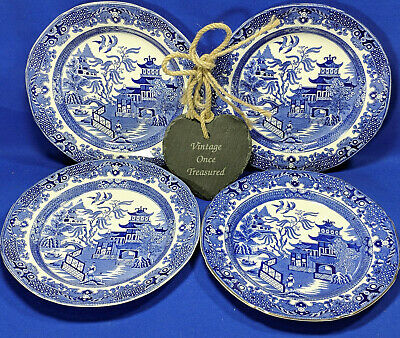 Burgess & Leigh Burleighware Willow 4 x Salad / Lunch Plates * Vintage 1930s VGC