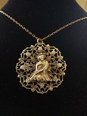White Metal Filigree Pendant With Oriental Lady