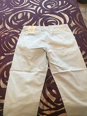 River Island Mens Slim Trouser Chino W 34 / L28 Light Blue Dylan Style