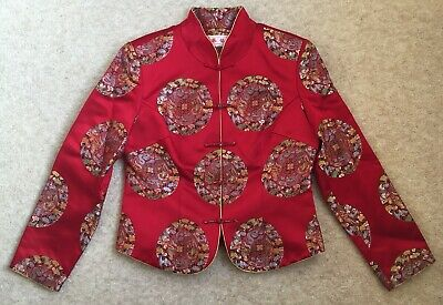 Womens Chines Red Lined Tunic Top Jacket Lined Beautiful Dragon Pattern