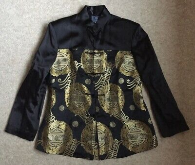 Womens Chines Black  Tunic Top Jacket Gold Decorative Pattern