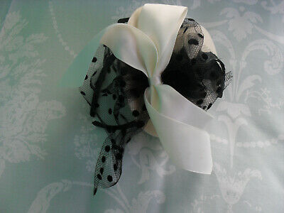 Accessorize Cream / Black Hat Shaped Fascinator on Band - Unworn