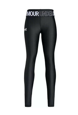 A# Girls Black Under Armour Heatgear Armour Leggings Uk XL