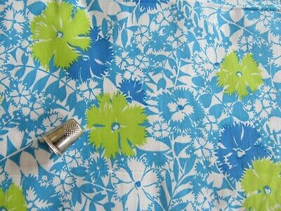 "Vintage 1960s Cotton Fabric FLORAL Lime Green & Shades of Blue 38""W x 58""L"