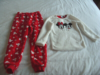 Girls Red & White Fluffy Disney Mickey & Minnie Mouse Pyjamas - Age 6-7 Years