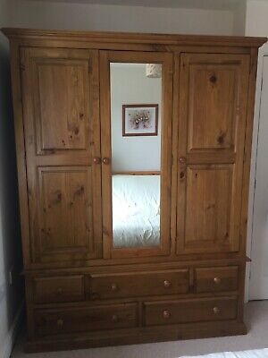 Antique Pine Triple Door Wardrobe with Mirror and 5 Drawers