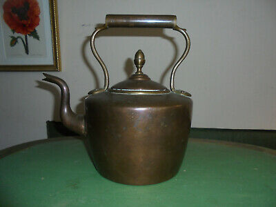 Large Antique Copper Brass Teapot Acorn Finial 3+ Pounds