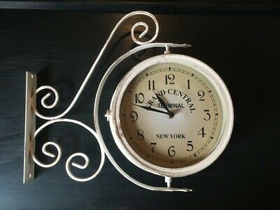 Victorian Railway Outdoor Grand Central Station Dual Face Clock And Thermometer