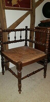 Arts And Crafts Corner Chair With Rush Seat