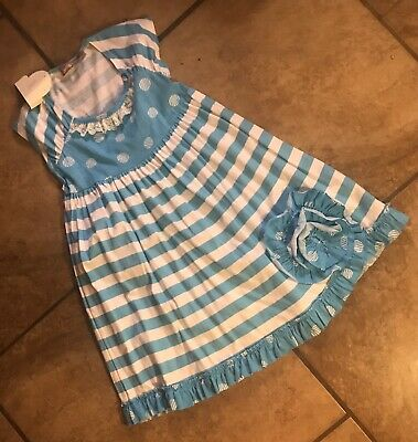 JELLY THE PUG~Sz6 GIRLS SLEEVELESS TURQUOISE & WHT STRIPED DRESS W/A BIG FLOWER