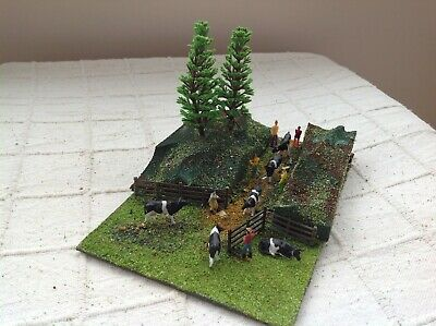 Model OO gauge diorama. Cows on the move! Handmade. Suit railway / Hornby