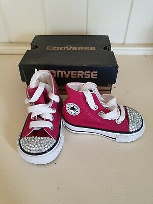 Babies Childrens Girls Pink Diamante Converse All Star Trainers Infant Size 3
