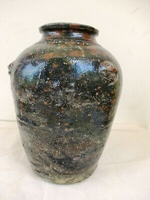 """Martaban Jar Asia Pottery Antique Chinese Ceramic Pot Green Glazed  12"""" Heigh*F4"""