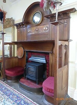 1903 Arts Crafts Shapland Petter,H285cm oak wood fireplace,copper,Liberty,Voysey