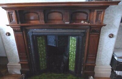 Shapland & Petter,late 19th Century,wooden mahogany fireplace,Liberty &Co
