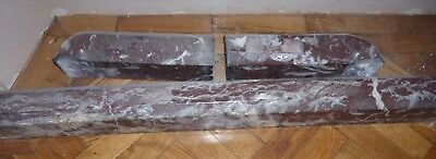 Arts & Crafts,Victorian Marble kerb fender,fireplace,3 piece,red brown,Emperador