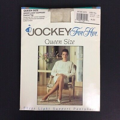 Jockey For Her Pantyhose Queen Tall Antique White Control Top Sandalfoot Vtg 90s