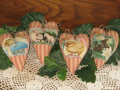 4 Rabbits Hearts Vintage Look Easter Wreath making Country Home Decor Primitive