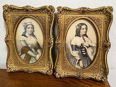ANTIQUE PICTURES & FRAMES Victorian Style Ornate Wooden Vintage Women Ladies