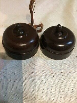 Vintage x2 Art Deco Bakelite 5 amp 250 volt One way dolly light switches