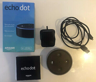Amazon Echo Dot 2nd Generation Smart Assistant - Black - Plug & Cable Included