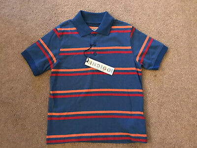 BNWT Marks And Spencer Indigo Boys Short Sleeved Polo Top Age 5-6 Years Blue