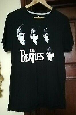 The Beatles Official Apple Merchandise Black Print Heads Tshirt Size M