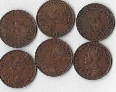 1 lot Copper Canadian Large Cent / Penny  NICE OLD COINS 1910,13,14,18,19,20