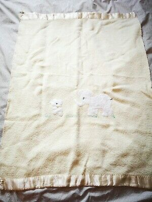 Vintage Swando Baby blanket Britain  elephant satin trim elephant  yellow wool