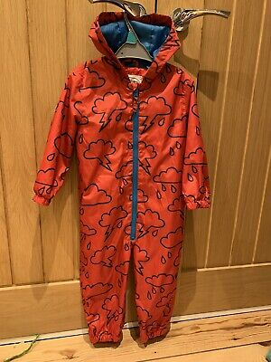 M&S Boys Girls Unisex Toddler Kids Red Puddlesuit Clouds Age 2-3