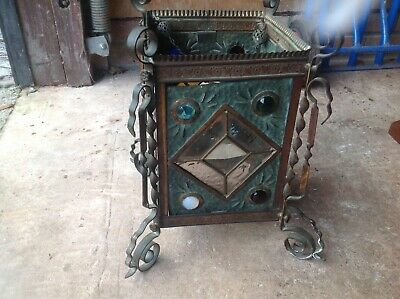 Arts and Crafts Copper and Glass Hall Lantern, Oxidised Metal